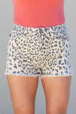 Leopard Frayed Jean Short