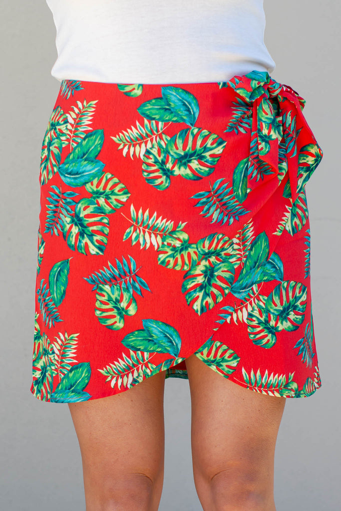 Palm Breeze Mini Wrap Skirt -  Red - A Cut Above Boutique