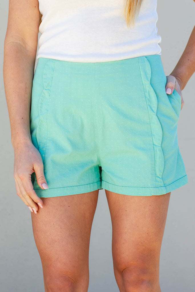 All In Scallop Shorts - Vintage Mint - A Cut Above Boutique