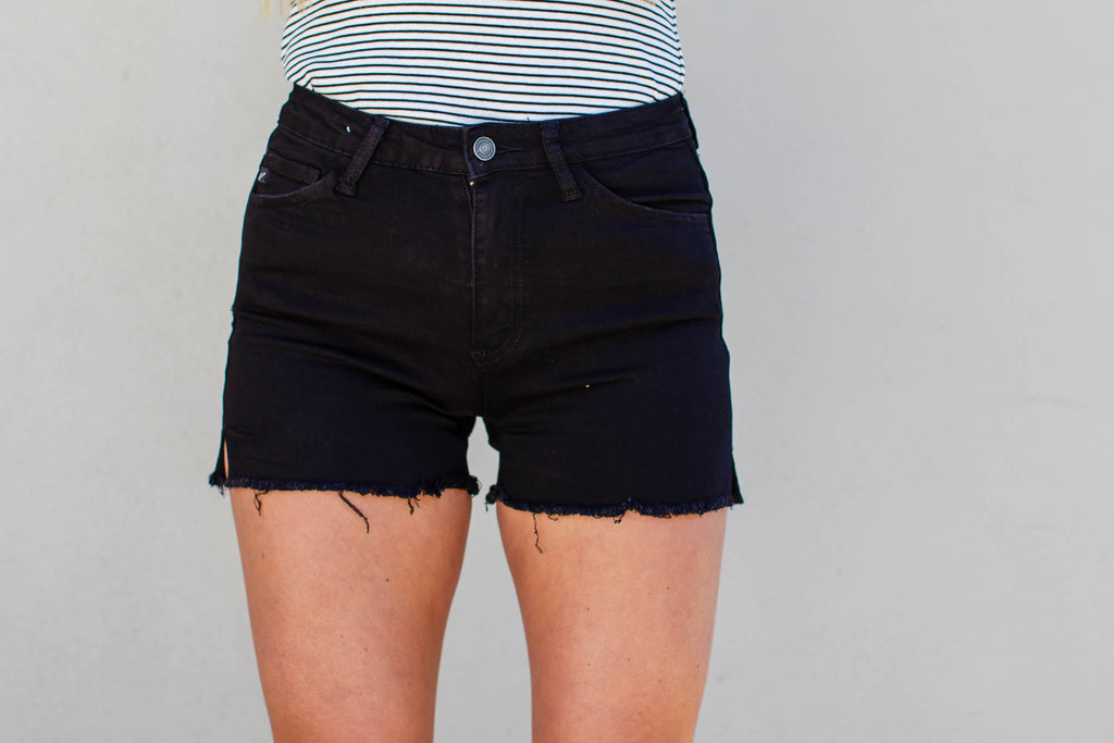 High Rise Black Shorts - A Cut Above Boutique
