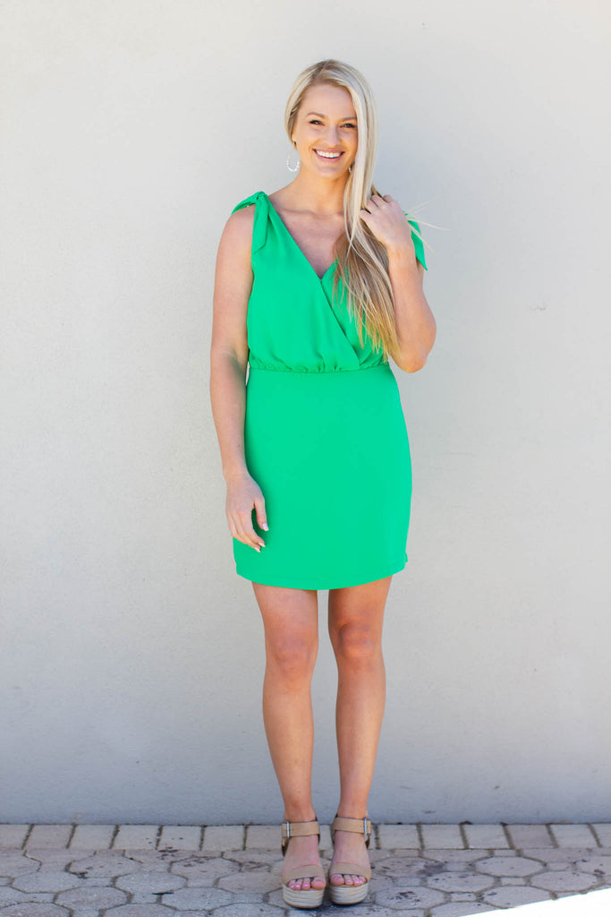 Miss Preppy Tie Shoulder Dress - Kelly Green - A Cut Above Boutique