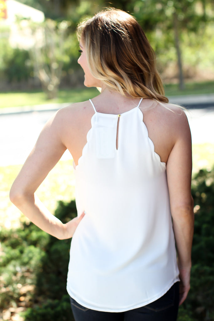 Scallop Tank - White - A Cut Above Boutique