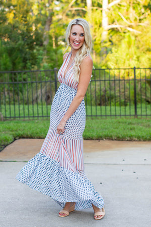 Geo High Low Halter Maxi Dress - A Cut Above Boutique