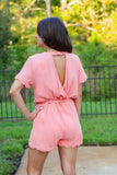 Beach Villa Scallop Romper - Peach - A Cut Above Boutique