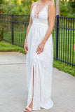 Lace Bralette Maxi Dress - White - A Cut Above Boutique
