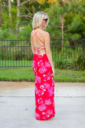 Making Waves Halter Maxi Dress - Red + Pink