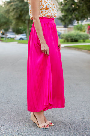 Barbie Pink Pleated Maxi Skirt - A Cut Above Boutique