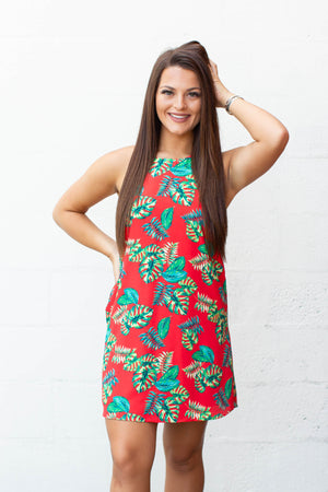 Palm Breeze Halter Dress - Red