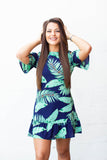 Palm Hunny Cold Shoulder Dress - Navy - A Cut Above Boutique