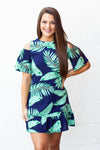 Palm Hunny Cold Shoulder Dress - Navy