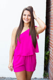 Pretty As They Get Romper - Fuchsia - A Cut Above Boutique