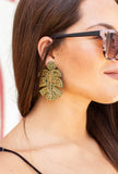 Gold Metallic Palm Leaf Beaded Statement Earrings
