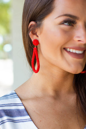 Red Seed Bead Statement Earrings
