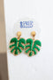 Palm Leaf Woven Thread Dangle Earrings - Green