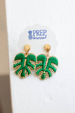Palm Leaf Woven Thread Dangle Earrings - Green - A Cut Above Boutique