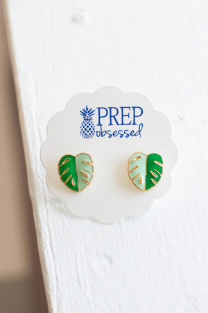 Tropical Palm Leaf Signature Enamel Studs Earrings - A Cut Above Boutique