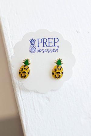 Leopard Pineapple Enamel Studs Earrings - A Cut Above Boutique