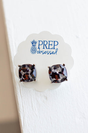 Silver Glitter Leopard Stud Earrings - A Cut Above Boutique
