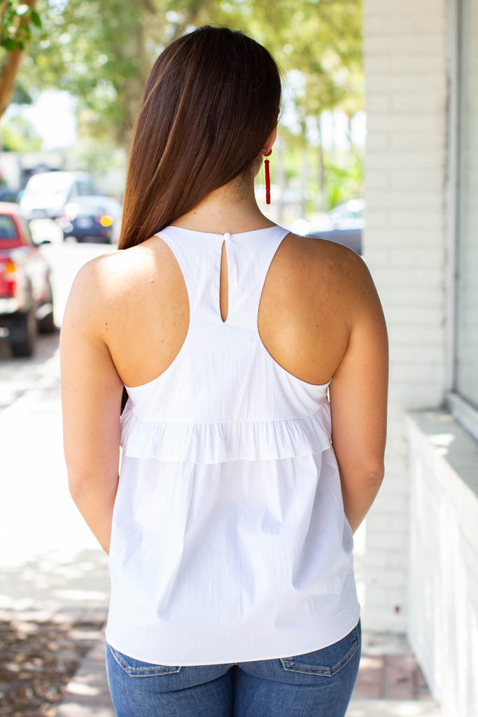 Ruffle It Babydoll Tank - White - A Cut Above Boutique