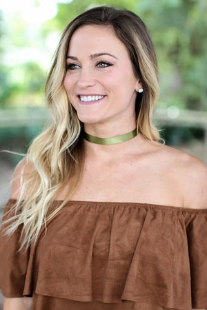 Ribbon Choker - Olive - A Cut Above Boutique