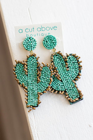 Cactus Beaded Earring - A Cut Above Boutique