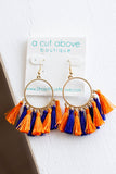 Orange + Blue Tailgate Fringe Earrings
