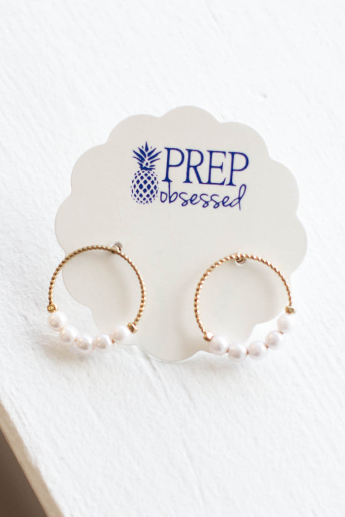 Pearl Circle Stud Earrings - A Cut Above Boutique