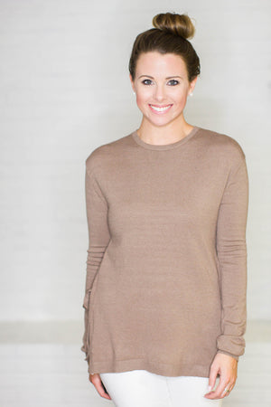 Tied To Side Mocha Top - A Cut Above Boutique
