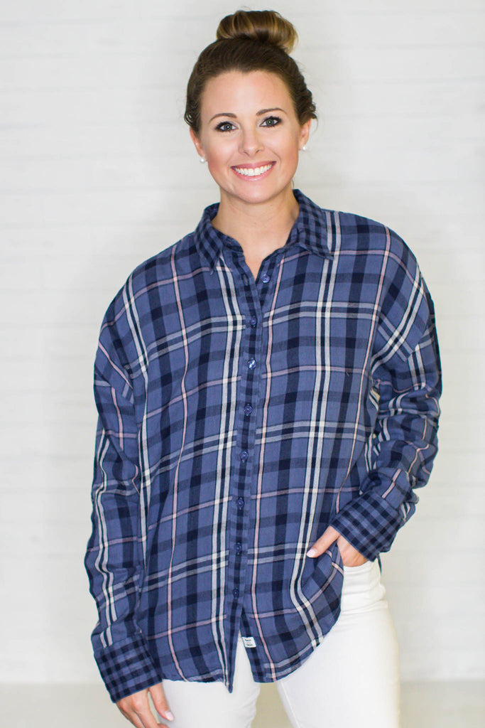 Double It Plaid Top - Navy - A Cut Above Boutique