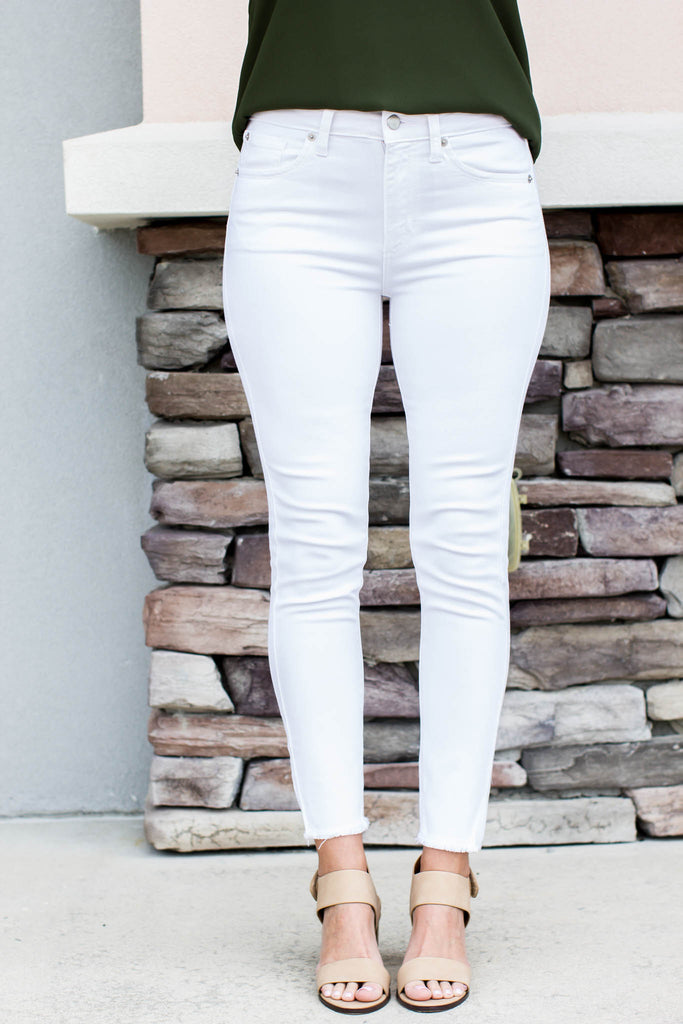 Frayed Hem White Skinny Jean - A Cut Above Boutique