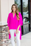 On With It Kimono Blouse - Fuchsia - A Cut Above Boutique