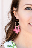 Quatrefoil Fringe Earring (Multiple Colors) - A Cut Above Boutique