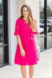 Bright And Full Of Lace Dress - Fuchsia - A Cut Above Boutique