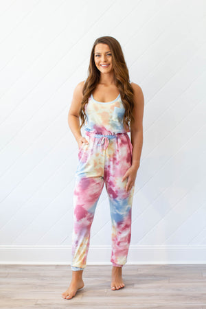 On To It Tie Dye Jumpsuit