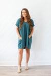 Shift This Way Babydoll Dress - Hunter Green