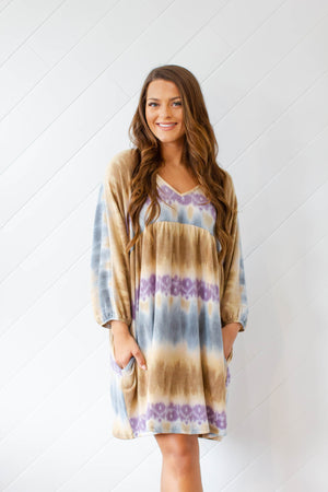 Tie Dye Says It Dress - Teal Combo