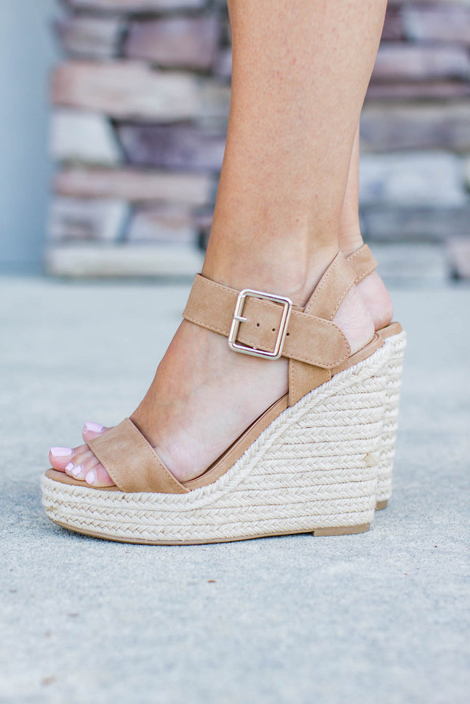 Tan Espadrille Wedges - A Cut Above Boutique