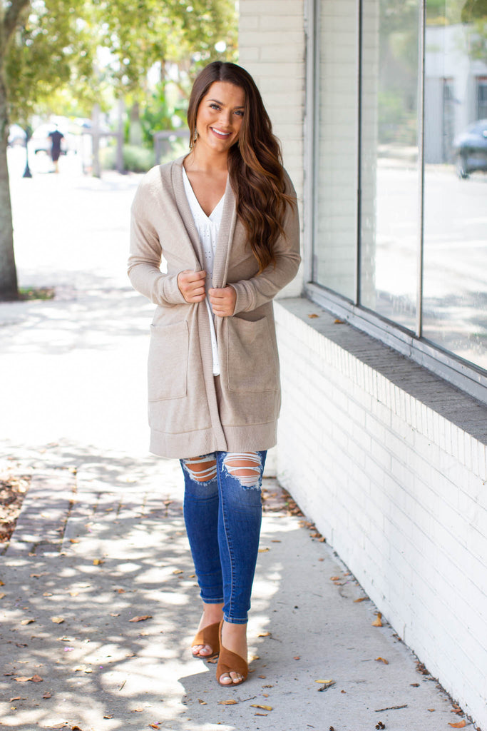 Here They Go Taupe Cozy Cardigan