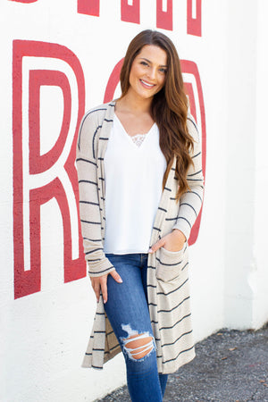 Win It Stripe Cardigan - Taupe