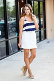 White A-Line Belted Mini Skirt
