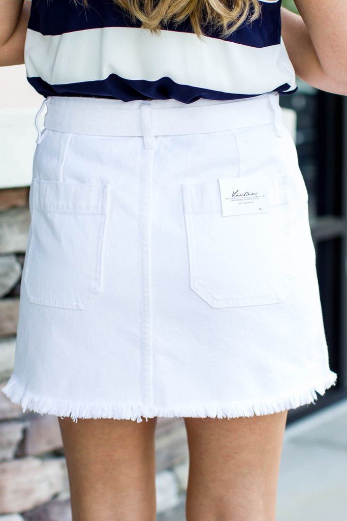 White A-Line Belted Mini Skirt - A Cut Above Boutique