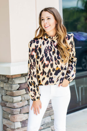 Run On Leopard Blouse - Brown