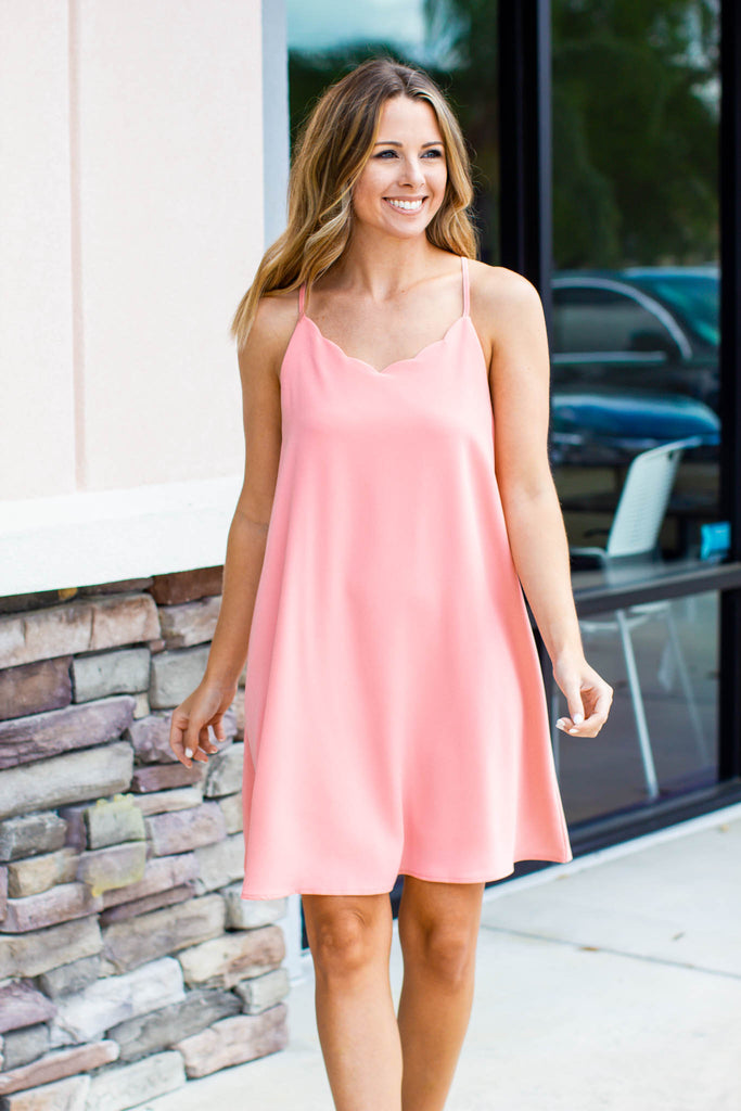 Right Cut Scallop Dress - Coral - A Cut Above Boutique