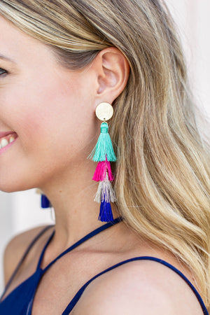 Multi Pom Pom Earring - A Cut Above Boutique