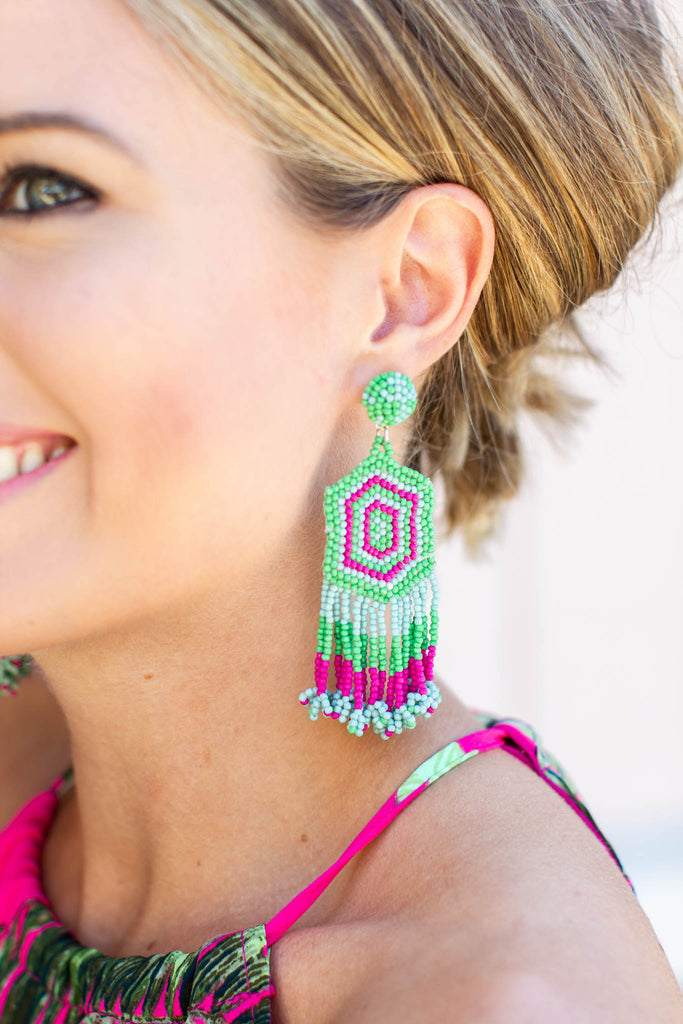 Beads Of Color Earring - Green Multi - A Cut Above Boutique