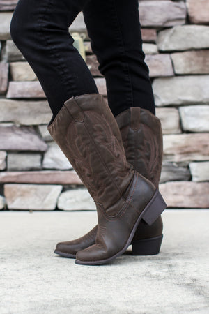 Western Cowboy Boot - Brown - ShopACutAbove