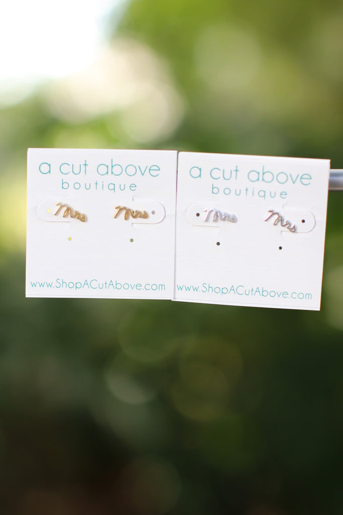 Mrs Earring Studs - A Cut Above Boutique
