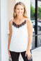 Classic Lace Tank Top - White/Black