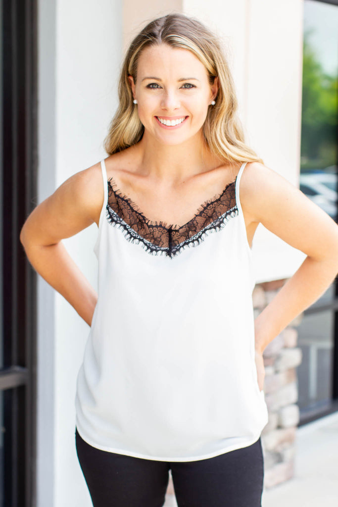 Classic Lace Tank Top - White/Black - A Cut Above Boutique