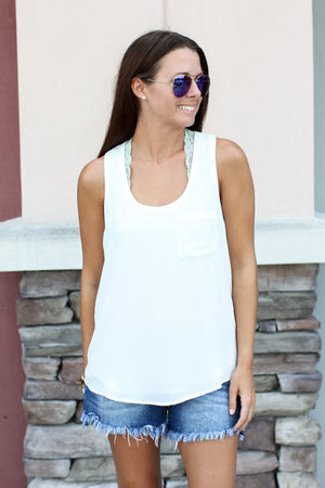 Everyday Pocket Tank - White - A Cut Above Boutique